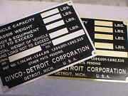 Divco Truck Data Plate Acid Etched Brass Or Aluminum 1920s - 1940s Choice
