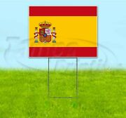 Spain Flag 18x24 Yard Sign With Stake Corrugated Bandit Usa Business