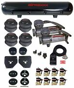 Air Ride Suspension Kit 3/8 Valves Blk 7 Switch Bags Tank For 1963-72 Chevy C10