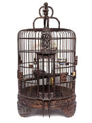 Magnificent 19th Century Chinese Rosewood Carved Bird Cage