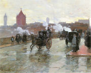 Hassam Clearing Sunset Berkeley Street And Columbus Avenue Artist Painting Oil