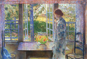 Hassam The Goldfish Window Artist Painting Reproduction Handmade Oil Canvas Deco
