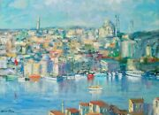 Listed Artist Nino Pippa Stunning Painting Of Istanbul From Camilica 18 X24