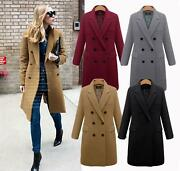 Plus Size Casual Lightweight Double Breasted Long Womens Winter Coat
