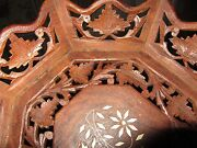 Hand Carved Leaf Pattern Wooden Tray Or Bowl With White Wood Inlays Leaves