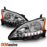 Fits 2013-2015 Sentra Chrome Led Drl Headlights Complete Replacement Set