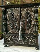 Early 19thc Antique Anglo Indian Coromandel Inlaid Desk Top Writing Cabinet 15