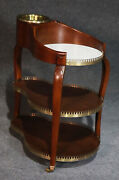 Incredible Solid Mahogany And Brass English Regency Wine And Cheese Trolley Cart