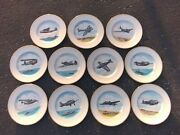 Lot Of 11 Vintage Ww2 Military Bomber Fighter Plane Airplane Plates