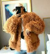 Womenand039s Real Sheep Curly Fur Weave Coat Shaggy Parka Thicken Warm Overcoats 2019