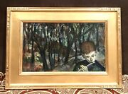 Vintage 1920andrsquo Helena Beacham American Pa Painting Oil/board Signed Hkb Framed