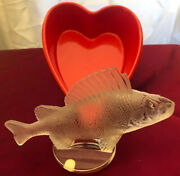 """Lalique France Crystal Perch Fish Paperweight/figurine 6 1/4""""elegant Excellent"""