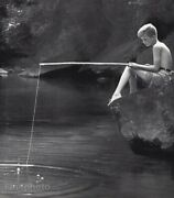 1959 Vintage Young Boy Pole Fishing River Water Photo Gravure By Carl Mansfield