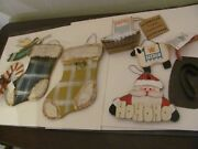 Lot 6 Primitive Christmas Ornaments Rustic Country Lot Of 9