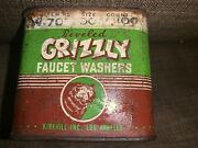 Vintage Beveled Grizzly Faucet Washers Storage Tin G-2