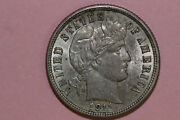 1911-p Mint State Nice Toning Barber Or Liberty Head 90 Silver Dime Bdx1007