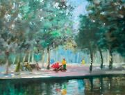 Listed Nino Pippa Original Impressionist Oil Painting London Hyde Park 18 X24