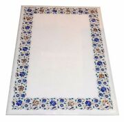 60 X 36 Marble Semi Precious Stone Floral Inlay Dining Table Top Handmade Work