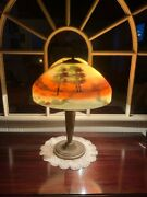 Lamp Antique Reverse Painted Pittsburgh Unsigned