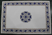 48 X 32 Marble Coffee Table Top Lapis Inlay Handicraft Work For Home Decor