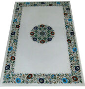 48 X 30 Marble Center Dining Table Top Floral Inlay Pietra Dura Handmade Work