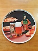 Vintage Ballantine Ale 12 Round Beer Tray Plastic With Photo Bottle Can Mug