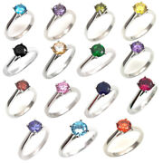 Solitaire 1ct Rings Diamond Unique 4 Claw Sterling Silver Various Colours