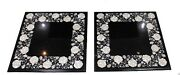 Set Of Two 24 X 24 Marble Inlaid Semi Precious Stones Coffee Table
