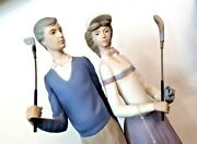 Vintage Lladro Figurine Golfing Couple Matte Bisque With Golf Clubs Signed