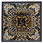 42 Black Marble Dining Table Top Inlaid Pietra Dura Marquetry Work