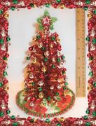 New Ooak 8lighted Red Tinsel Dollhouse Miniature Christmas Tree+ornaments 135