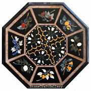 48 X 48 Black Marble Dining Coffee Table Top Inlay Pietra Dura Home Decor