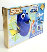 Disney Finding Dory 5 Puzzle Pack Wood Storage Box Tray Educational Learn New