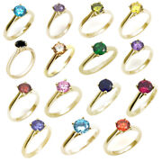 Solitaire 1ct Rings Diamond Unique 4 Claw 9ct Yellow Gold Various Colours