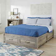 Platform Bed Frame Storage Drawer Queen Size Home Guest Bedroom Farmhouse Style