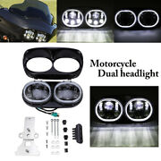 Led Motorcycle Dual Headlight Fit For Har Ley Road Glide Custom Fltrx 2010-2013