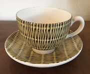Mid Century Modern Mcm French Pottery Basketweave Cup And Saucer Molin Charolles