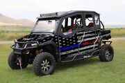 16-current Polaris General 1000 4 Graphic Matte Wrap Thin Blue To Red Line Flag