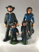 Vintage Painted Cast Iron Amish Family In Father Mother Boy Girl