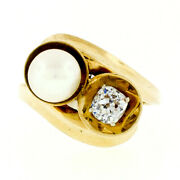 Antique 14k Gold 7.2mm Pearl .58ct Old Mine Cushion Diamond Bypass Cocktail Ring