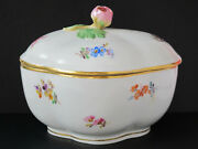 Meissen Lidded Bowl W/ Rose Finial - 5x4 - Fine China, Hand-painted - Gorgeous