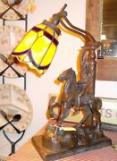 Remington The Scalp Sculpture On Copper Stained Glass Lamp