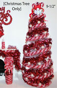 New 112 Dollhouse Miniature 9lighted Candy-cane Christmas Tree+ornaments