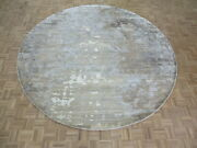 9and0395 X 9and0395 Round Hand Knotted Modern Abstract Oriental Rug With Silk G8449