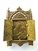 Antique Old Small Traveling Icon Mary And Baby Jesus Litho Tin Oklad Triptych P1