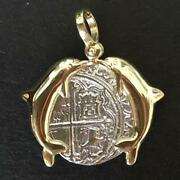 Atocha Jewelry - 2 Reale Silver Coin Pendant W/14k Gold Double Dolphin Frame