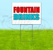 Fountain Drinks 18x24 Yard Sign With Stake Corrugated Bandit Usa Business Soda