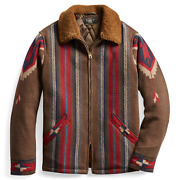 Rrl Shearling Wool Blanket Jacket Ranch Menand039s Small S Southwest