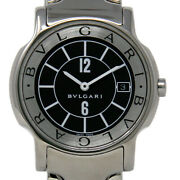 Bvlgari Solotempo 35mm Large St35s Stainless Steel Black Box/paper/warranty 707