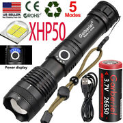 990000lumens Zoomable Xhp50 5 Modes Led Usb Rechargeable 18650 Flashlight Torch